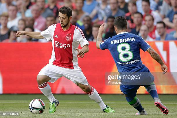 Amin Younes of Ajax Vierinha of Wolfsburg during the preseason friendly match between Ajax Amsterdam and VfL Wolfsburg on July 17 2015 at the...