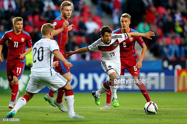 Amin Younes of Germany and Onderj Petrak of Czech Republic battle for the ball during the UEFA European Under21 Group A match between Germany and...