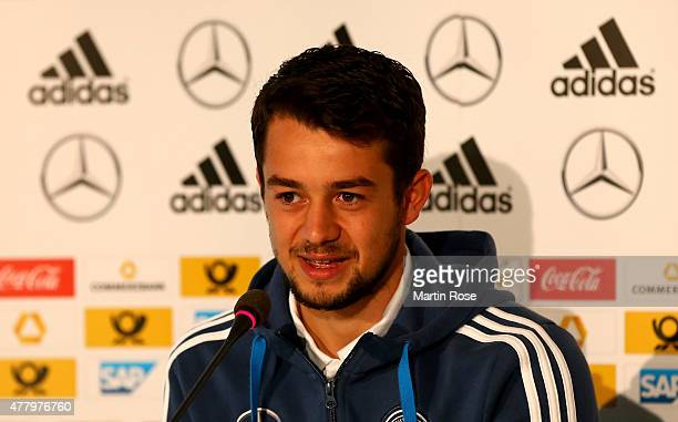 Amin Younes of Germany attends a press conference ahead of the UEFA European Under21 Group A match against Czech Republic at NH Hotel on June 21 2015...