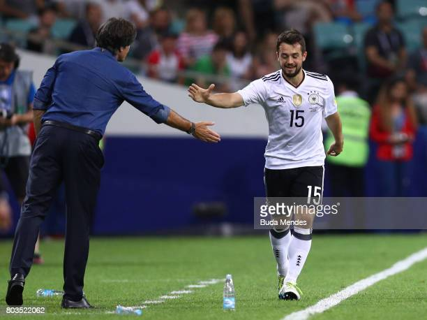 Amin Younes of Germany celebrates scoring his sides fourth goal with Joachim Loew coach of Germany during the FIFA Confederations Cup Russia 2017...