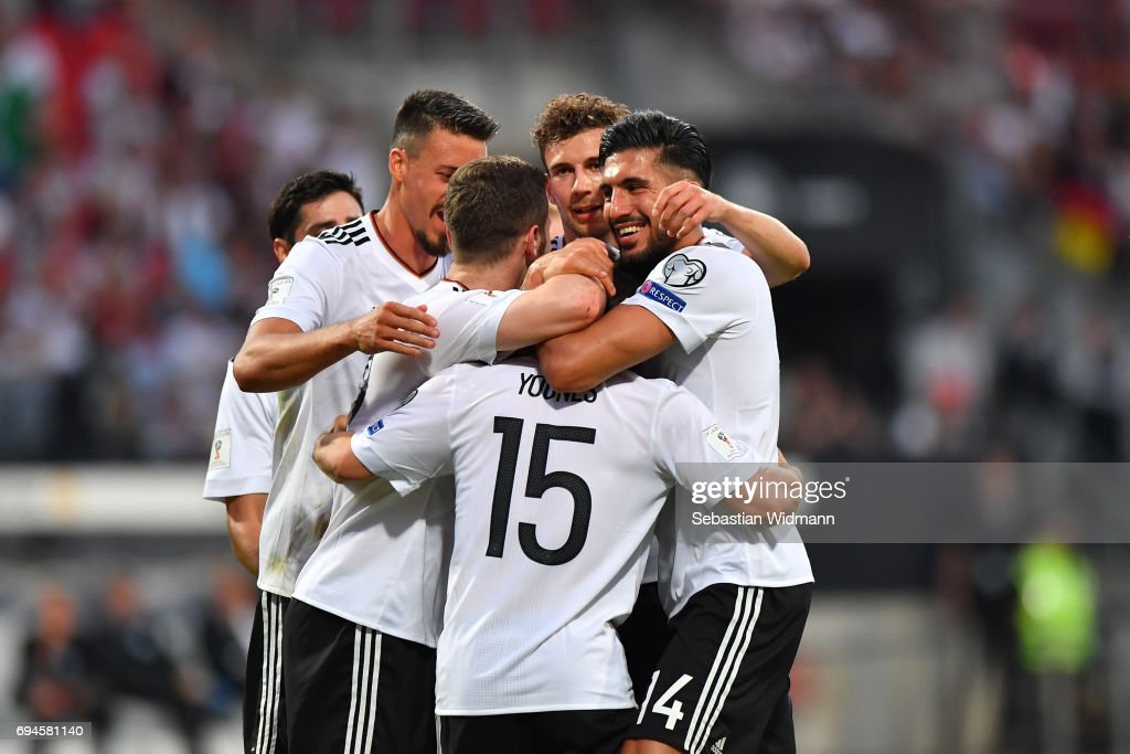 Amin Younes of Germany celebrates with teammates their teams fourth goal during the FIFA 2018 World Cup Qualifier between Germany and San Marino at Stadion Nurnberg on June 10, 2017 in Nuremberg, Bavaria.