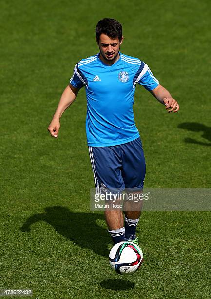 Amin Younes of Germany controlls the ball during a training session ahead of the UEFA European Under21 semi final match against Portugal at Ander...