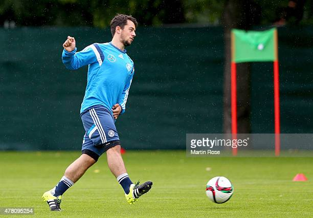 Amin Younes of Germany conztols the ball during a training session ahead of the UEFA European Under21 Group A match against Czech Republic at NH...