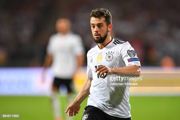 Amin Younes of Germany gestures during the FIFA 2018 World Cup Qualifier between Germany and San Marino at Stadion Nurnberg on June 10 2017 in...