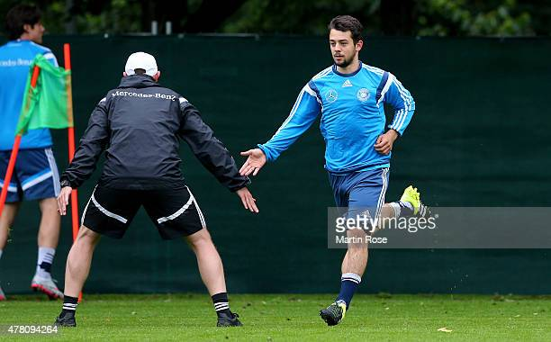 Amin Younes of Germany in action during a training session ahead of the UEFA European Under21 Group A match against Czech Republic at NH Hotel on...