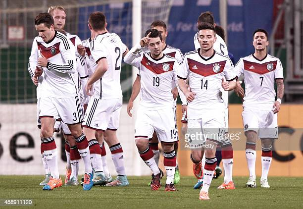 Amin Younes of Germany is congratulated after scoring a goal during the U21 Germany v U21 Netherlands International Friendly match at Audi Sportpark...