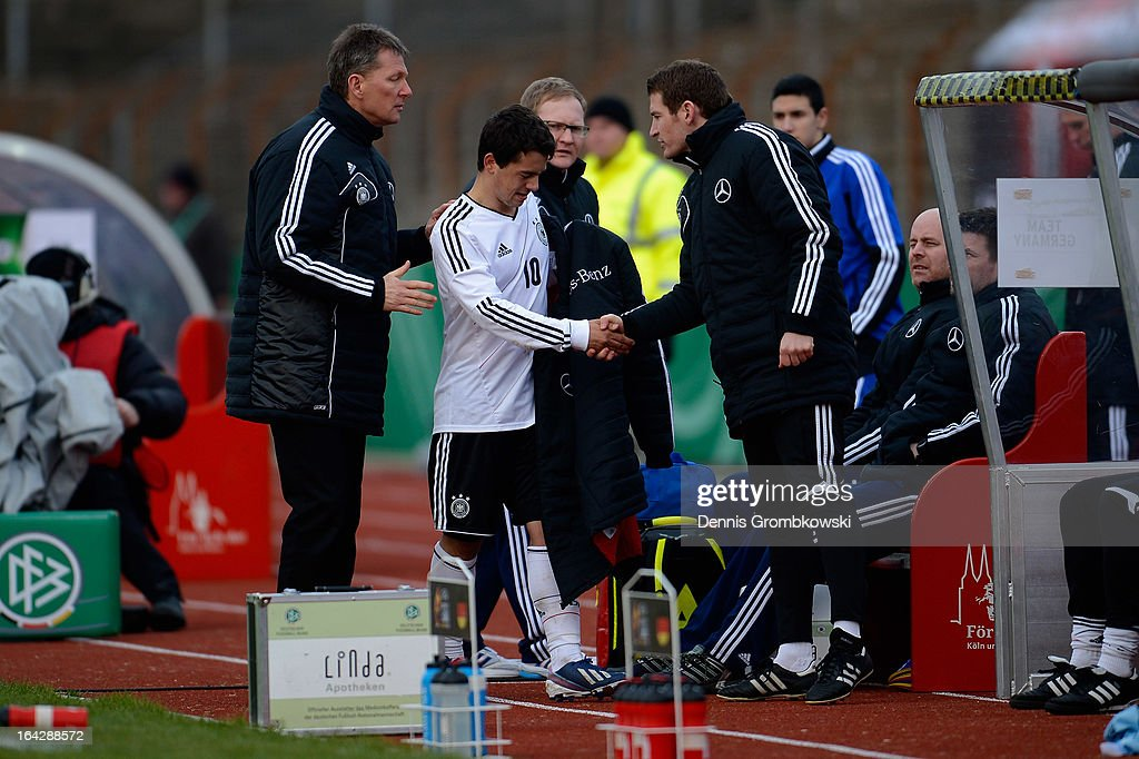 Amin Younes of Germany leaves the pitch after suffering an injury during the International Friendly match between U20 Germany and U20 Switzerland on March 22, 2013 in Cologne, Germany.