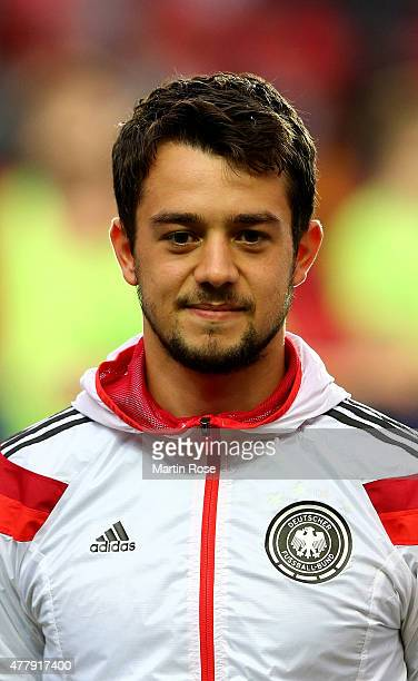 Amin Younes of Germany looks on before the UEFA European Under21 Group A match between Germany and Denmark at Eden Stadium on June 20 2015 in Prague...