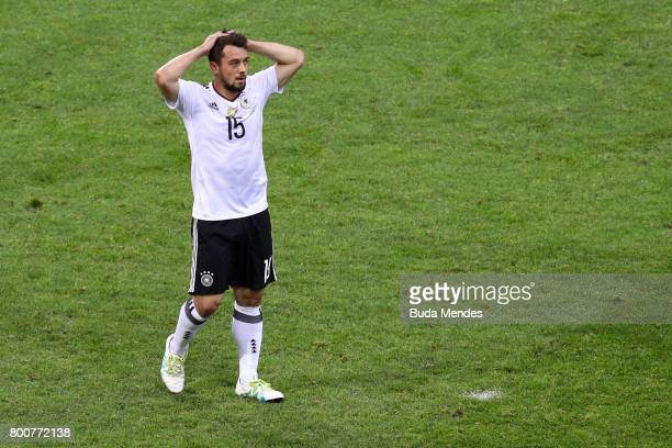 Amin Younes of Germany reacts during the FIFA Confederations Cup Russia 2017 Group B match between Germany and Cameroon at Fisht Olympic Stadium on...