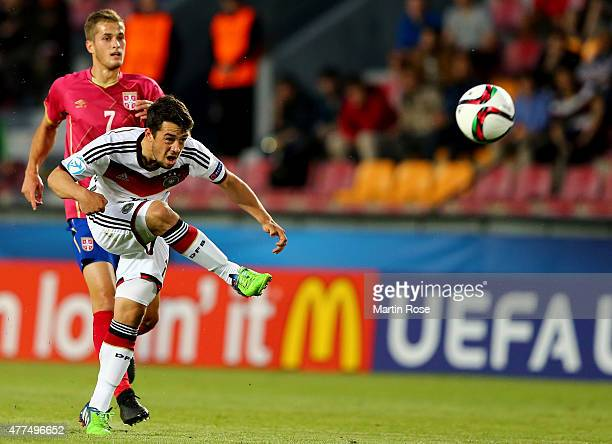 Amin Younes of Germany runs with the ball during the UEFA European Under21 Group A match between Germany and Serbia at Letna Stadium on June 17 2015...