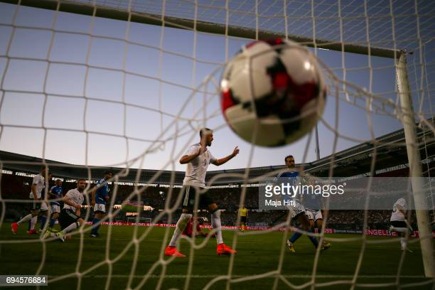 Amin Younes of Germany scores a goal to make it 40 during the FIFA 2018 World Cup Qualifier between Germany and San Marino on June 10 2017 in...