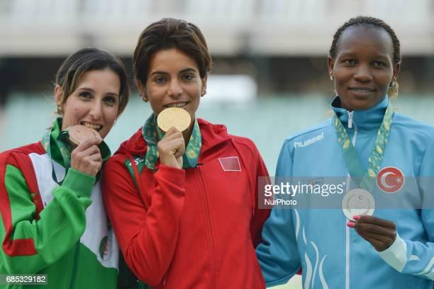 Amina Bettiche of Algerie Rababe Arafi of Morocco and Meryem Akdag of Turkey the podium of Women's 1500m during day four of Athletics at Baku 2017...