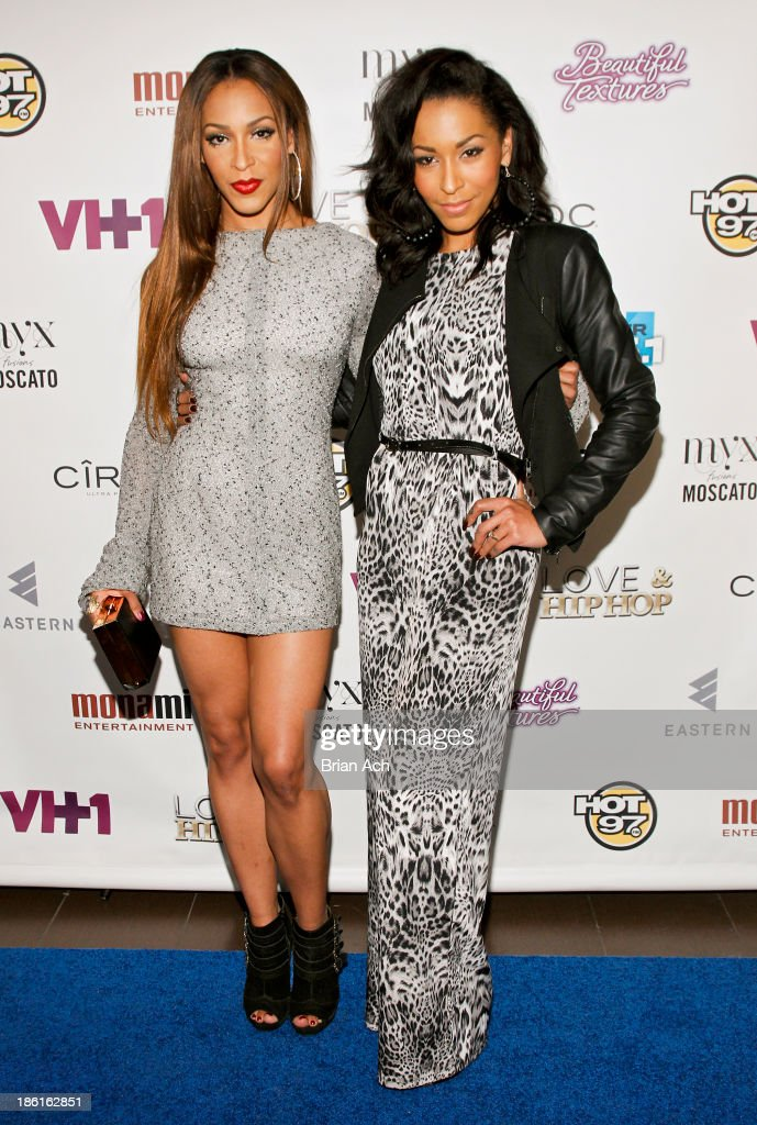 Amina Buddafly and Jazz Buddafly appear at the VH1 'Love & Hip Hop' Season 4 Premiere at Stage 48 on October 28, 2013 in New York City.