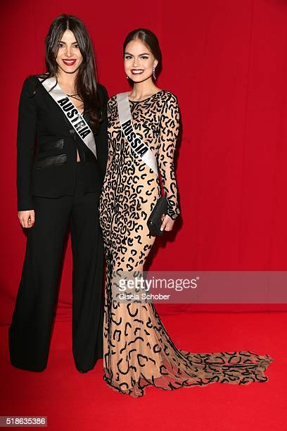Amina Dagi Miss Austria and Vladislava Evtushenko Miss Russia during the 7th 'Filmball Vienna' at City Hall on April 1 2016 in Vienna Austria