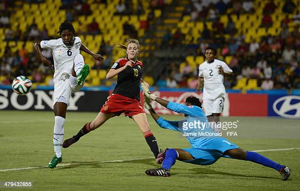 Amina Fuseini of Ghana clears the ball from Laura Freigang of Germany during the FIFA U17 Women's World Cup Grroup B match between Ghana and Germany...