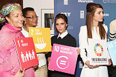 Amina J Mohammed Graca Machel Victoria Beckham and Queen Rania of Jordan attend the 2015 Social Good Summit at 92Y on September 27 2015 in New York...