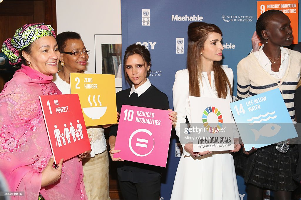 Amina J Mohammed Graca Machel Victoria Beckham Queen Rania of Jordan and Alek Wek attend the 2015 Social Good Summit at 92Y on September 27 2015 in...