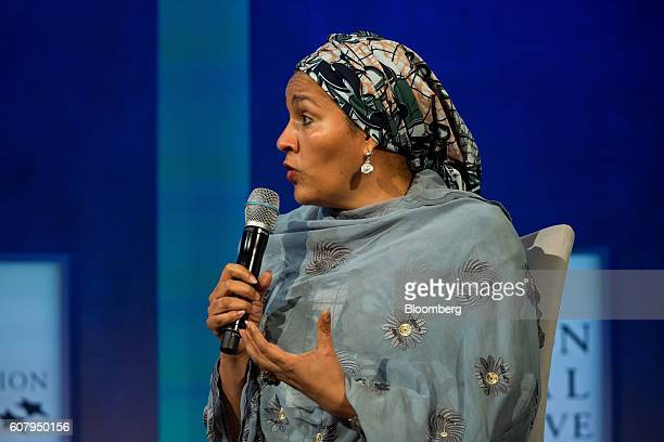 Amina Mohammed minister of environment of Nigeria speaks during a panel discussion during the annual meeting of the Clinton Global Initiative in New...