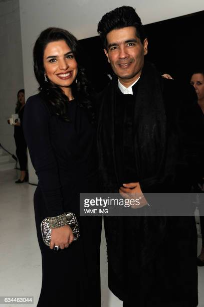 Amina Taher and designer Manish Malhotra attend Etihad Airways Toasts New York Fashion Week 2017 at Skylight Clarkson Sq on February 9 2017 in New...