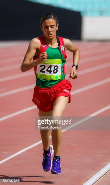 Amina Tahiri of Morocco competes during the Women's 10000 meters during day nine of the the Baku 2017 4th Islamic Solidarity Games at Olympic Stadium...