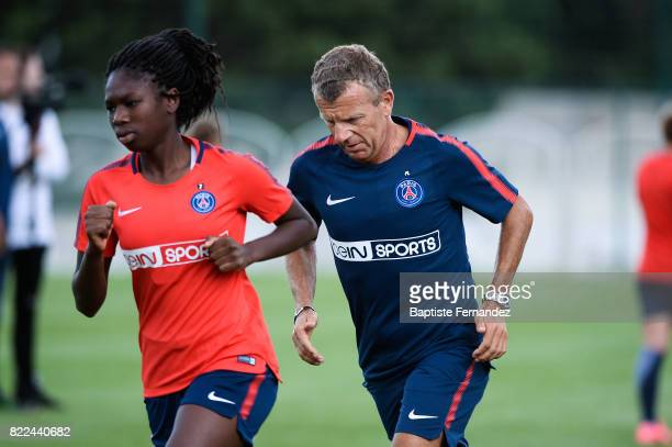 Aminata Diallo and Patrice Lair head coach of Paris Saint Germain during a training session of Paris Saint Germain at Bougival on July 25 2017 in...