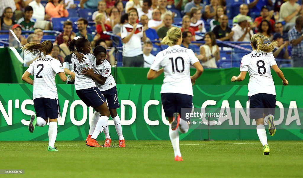 Aminata Diallo #6 of France celebrates after scoring their 2nd goal during the FIFA U-20 Women's World Cup 2014 3rd place playoff match between Korea DPR and France at Olympic Stadium on August 24, 2014 in Montreal, Canada.