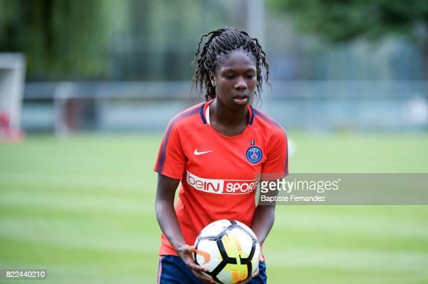 Aminata Diallo of Paris Saint Germain during a training session of Paris Saint Germain at Bougival on July 25 2017 in Paris France
