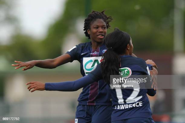 Aminata Diallo of PSG and Ashley Lawrence of PSG celebrate during the women's National Cup match between Paris Saint Germain PSG and AS Saint Etienne...