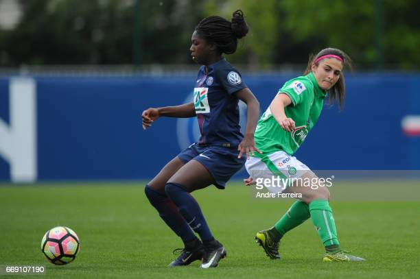 Aminata Diallo of PSG and Coralie Digonnet of Saint Etienne during the women's National Cup match between Paris Saint Germain PSG and AS Saint...
