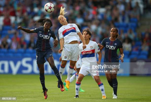 Aminata Diallo of PSG and Eugenie Le Sommer of Olympique Lyonnais during the UEFA Women's Champions League Final match between Lyon and Paris Saint...