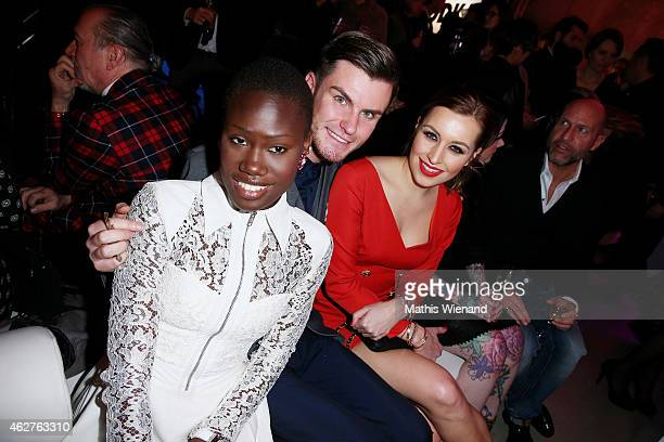 Aminata Sanogo PaulHenry Duval and Verena Kerth attend the GDS Grand Opening Party on February 4 2015 in Duesseldorf Germany