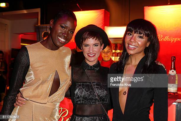 Aminata Sanogos Isabel Horn and Alexandra Maurer attend the 99FireFilmAward 2016 at Admiralspalast on February 18 2016 in Berlin Germany