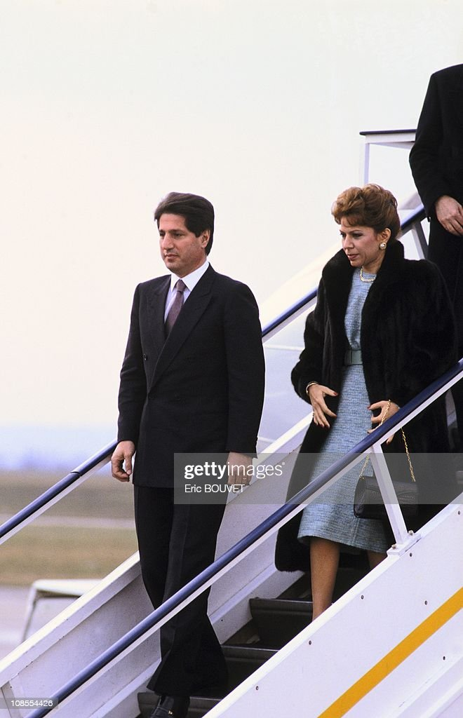 Amine Gemayel and his wife in Paris, France in February , 1987.
