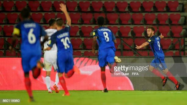 Amine Gouiri of France celebrates scoring the opening goal during the FIFA U17 World Cup India 2017 group E match between France and Japan at Indira...