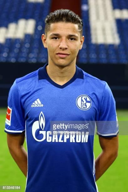 Amine Harit of FC Schalke 04 poses during the team presentation at Veltins Arena on July 12 2017 in Gelsenkirchen Germany