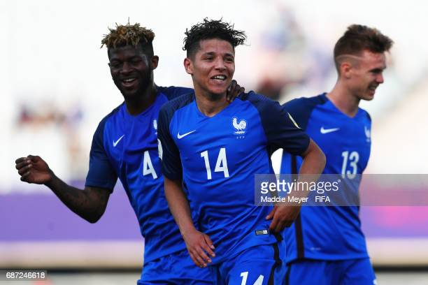 Amine Harit of France celebrates with Jerome Onguene after scoring a goal during the FIFA U20 World Cup Korea Republic 2017 group E match between...