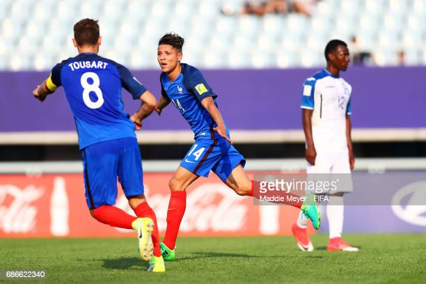 Amine Harit of France celebrates with Lucas Tousart after scoring a goal during the FIFA U20 World Cup Korea Republic 2017 group E match between...