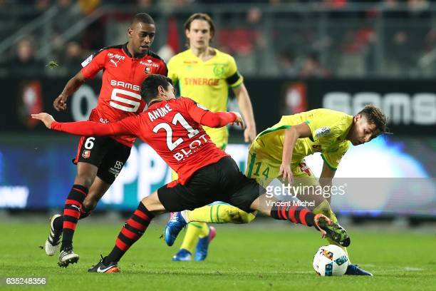 Amine Harit of Nantes and Benjamin Andre of Rennes during the French Ligue 1 match between Rennes and Nantes at Stade de la Route de Lorient on...