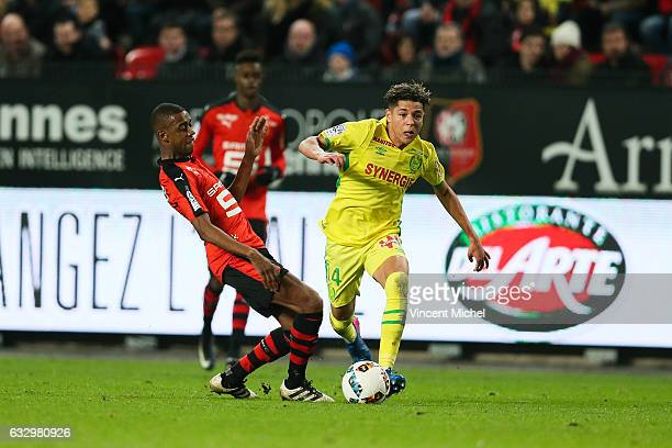 Amine Harit of Nantes and Gelson Fernandes of Rennes during the French Ligue 1 match between Rennes and Nantes at Stade de la Route de Lorient on...