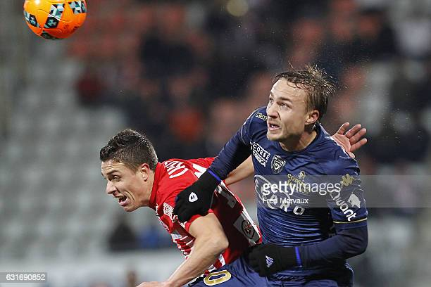 Amine Harit of Nantes and Pierre Bengtsson of Bastia during the Ligue 1 match between AS Nancy Lorraine and SC Bastia at Stade Marcel Picot on...