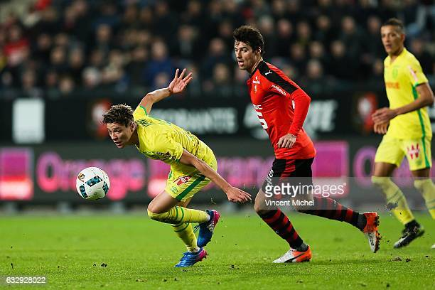 Amine Harit of Nantes and Yoann Gourcuff of Rennes during the French Ligue 1 match between Rennes and Nantes at Stade de la Route de Lorient on...
