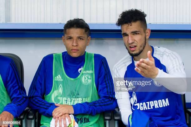 Amine Harit of Schalke and Nabil Bentaleb of Schalke looks on during the preseason friendly match between SC Paderborn and FC Schalke 04 at...