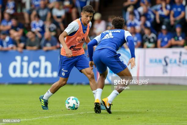 Amine Harit of Schalke and Thilo Kehrer of Schalke battle for the ball during the Training Camp of FC Schalke 04 on July 30 2017 in Mittersill Austria