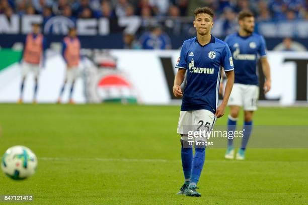Amine Harit of Schalke controls the ball during the Bundesliga match between FC Schalke 04 and VfB Stuttgart at VeltinsArena on September 10 2017 in...