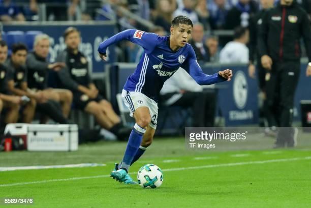 Amine Harit of Schalke controls the ball during the Bundesliga match between FC Schalke 04 and Bayer 04 Leverkusen at VeltinsArena on September 29...