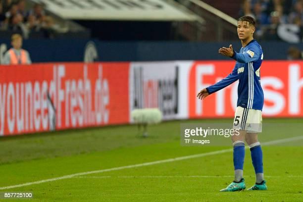 Amine Harit of Schalke gestures during the Bundesliga match between FC Schalke 04 and Bayer 04 Leverkusen at VeltinsArena on September 29 2017 in...