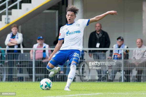 Amine Harit of Schalke in action during the preseason friendly match between SC Paderborn and FC Schalke 04 at BentelerArena on July 15 2017 in...