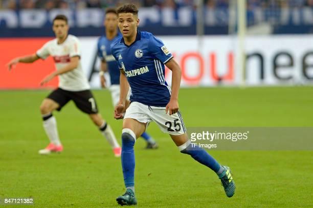 Amine Harit of Schalke looks on during the Bundesliga match between FC Schalke 04 and VfB Stuttgart at VeltinsArena on September 10 2017 in...