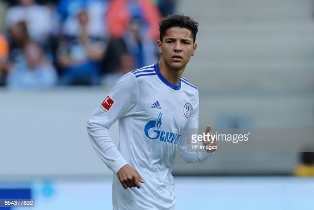 Amine Harit of Schalke looks on during the Bundesliga match between TSG 1899 Hoffenheim and FC Schalke 04 at Wirsol RheinNeckarArena on September 23...