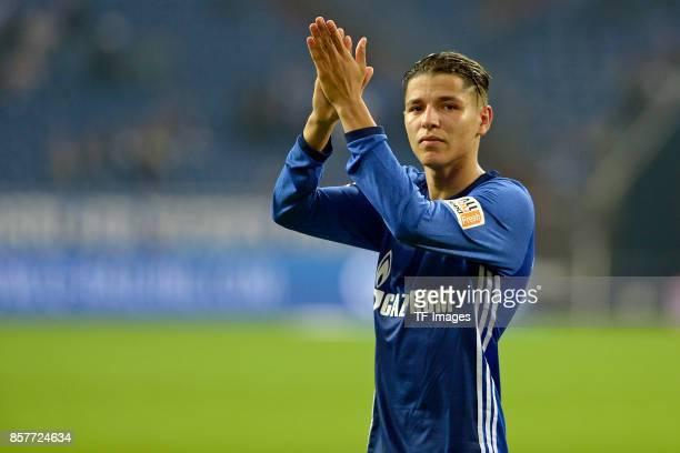 Amine Harit of Schalke looks on during the Bundesliga match between FC Schalke 04 and Bayer 04 Leverkusen at VeltinsArena on September 29 2017 in...